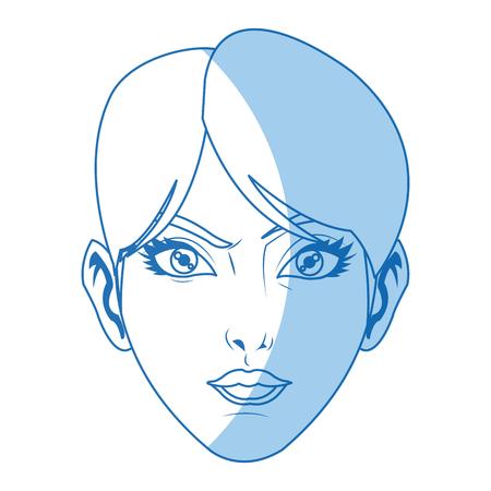character female face beauty short hair image vector illustration Illustration
