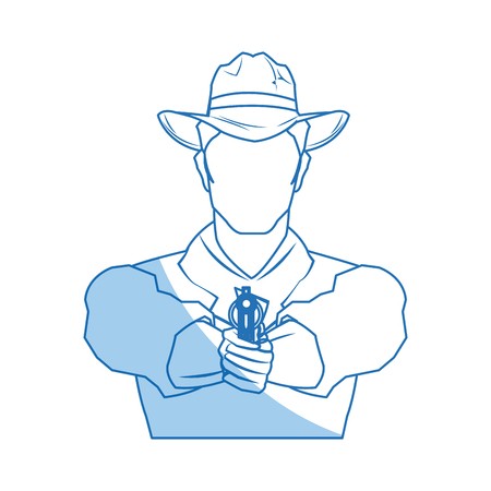 herder: portrait man in cowboy hat. sketch vector illustration