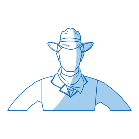 herder: A portrait man in cowboy hat. sketch vector illustration.