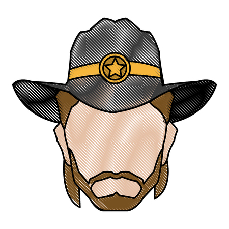 cowboy beard: silhouette man cowboy wear hat image vector illustration Illustration