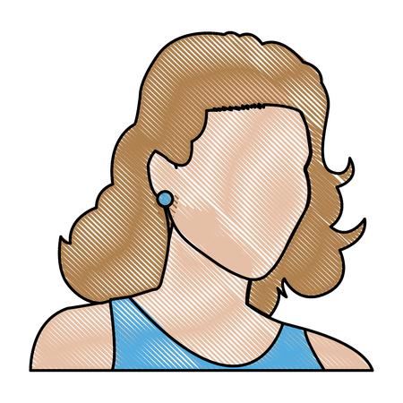 human face: sketch woman face comic. hand drawn girl portrait. vector illustration