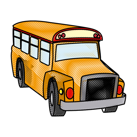 学校のバス輸送車両サービス小ベクトル イラスト。