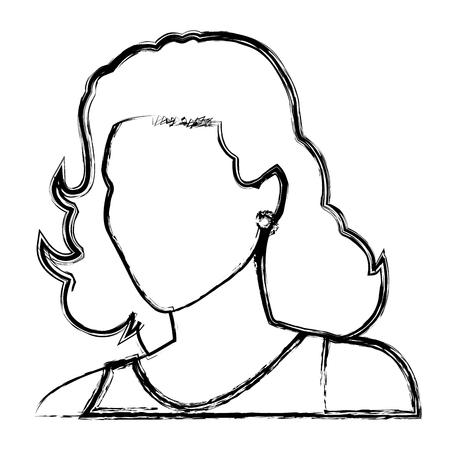 comix: Sketch woman face comic. Illustration