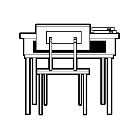 schooldesk: School table and chair of classroom vector illustration