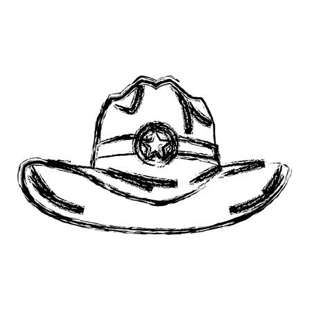 帽子カウボーイ アイコン、西洋アクセサリー文字ベクトル図
