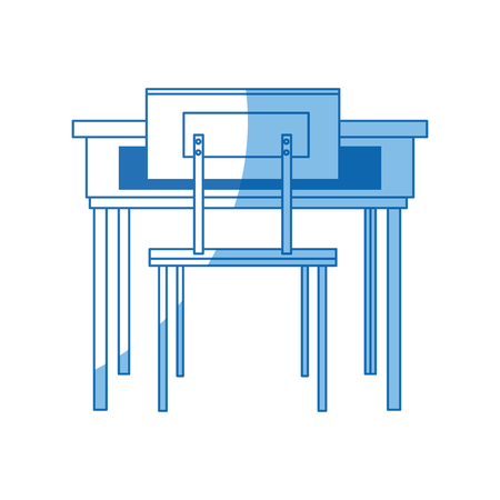 schooldesk: school table and chair furniture class vector illustration Illustration