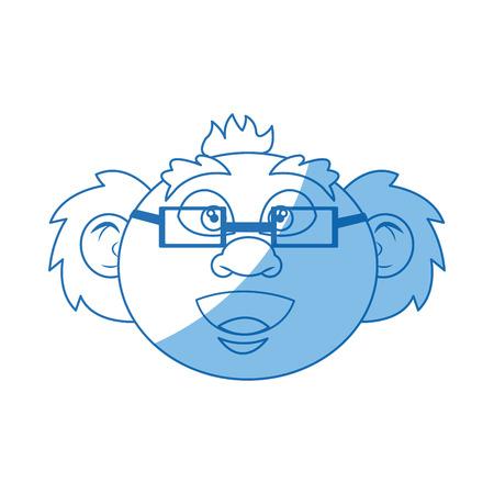 cartoon old professor man scientific with mustache bald vector illustration Banco de Imagens - 78974393