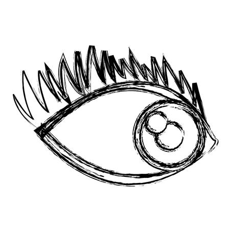cartoon eye human look watch icon vector illustration