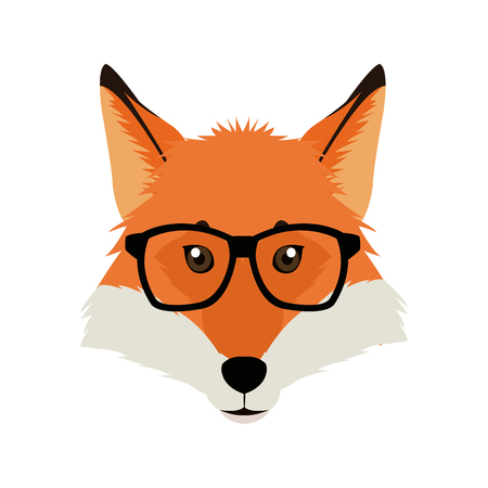 fashion portrait of fox hipster isolated on white Illustration