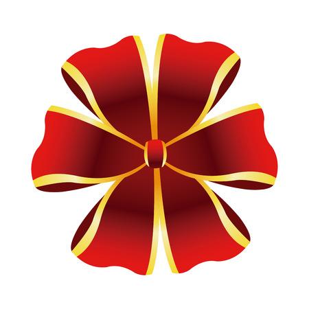 Red bow golden border decoration Christmas element vector illustration