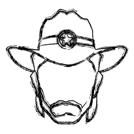 top gun: Silhouette man cowboy wear hat image vector illustration