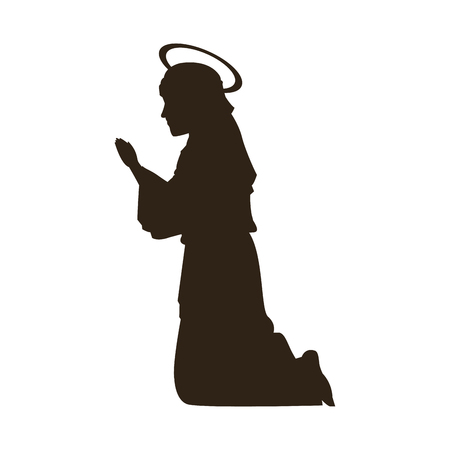 Silhouette virgin Mary praying on knees vector illustration Çizim