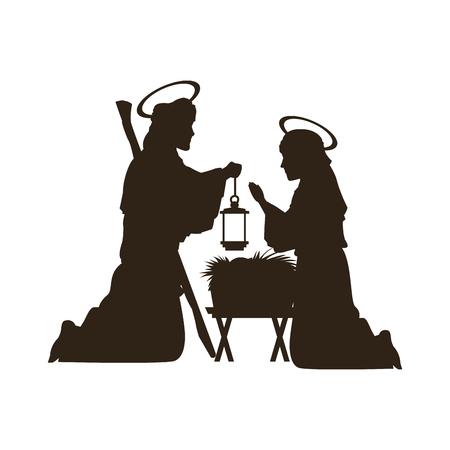 Zwart silhouet kerststal katholieke vectorillustratie