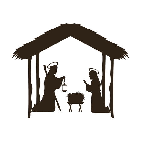 Christmas christian scene with baby Jesus in the manger in silhouette vector illustration