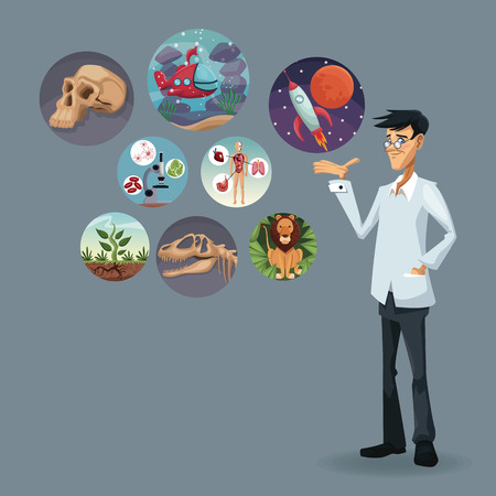 realistic color poster scientist with icons world evolution vector illustration Illustration