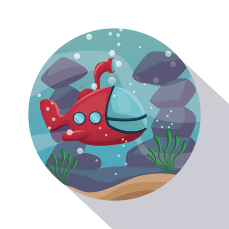 circular frame shading of poster closeup scenary underwater with submarine vector illustration