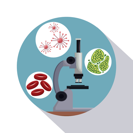 circular frame shading of poster closeup microscope with icons of globules and cells vector illustration Illustration