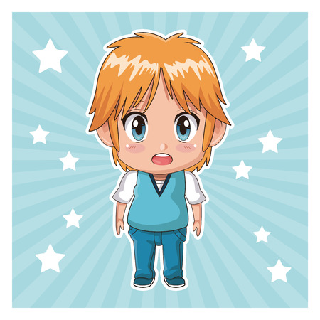 striped color background with stars and cute anime tennager facial expression bewildered vector illustration Illustration