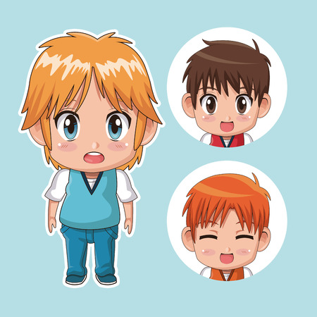 anime young: blue color set cute anime tennagers with several facial expressions vector illustration