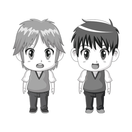 monochrome set silhouette cute anime tennagers facial expression surprise vector illustration