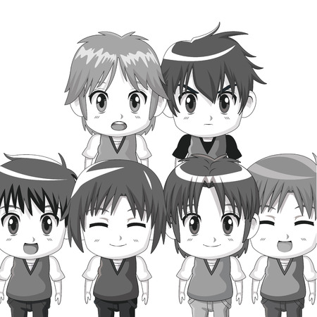 monochrome set silhouette half body cute anime tennagers facial expressions vector illustration Illustration