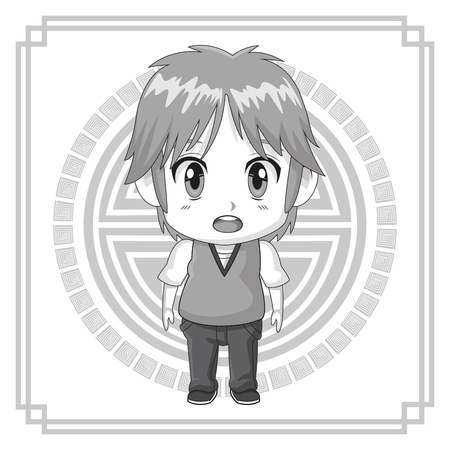 monochrome background japanese symbol with silhouette cute anime tennager facial expression bewildered vector illustration
