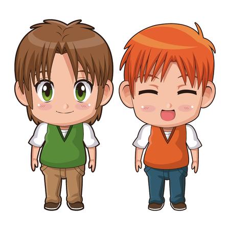 couple plein corps coloré mignon anime tennager expression faciale bonheur illustration vectorielle Vecteurs