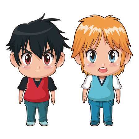 brow: colorful full body couple cute anime tennager facial expression bewildered and angry vector illustration Illustration