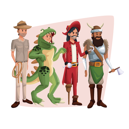 poster with set men in costume halloween vector illustration