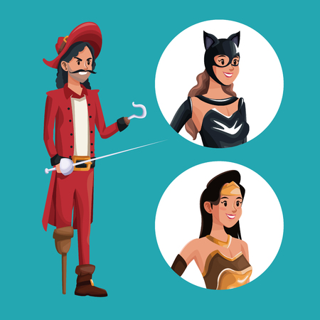 Blue poster with pirate man costume and icons female halloween costume vector illustration