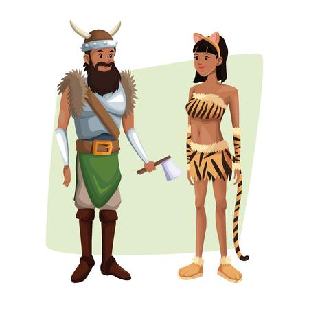cartel con pareja viking hombre y tigresa mujer disfraz vector ilustración de halloween