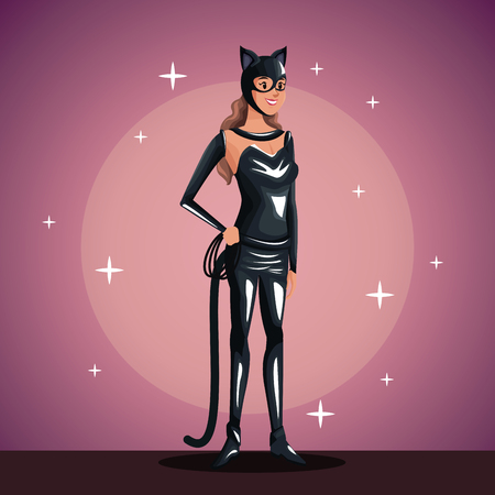stage makeup: cat woman in costume party in spotlight background with bright vector illustration