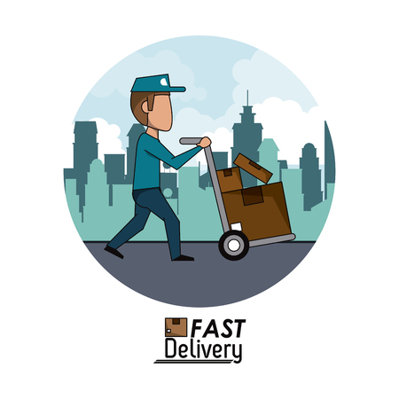 circular frame poster city landscape fast delivery man with hand truck packages vector illustration Illustration