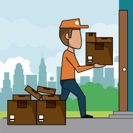 poster scene city landscape of fast delivery man with packages at home vector illustration