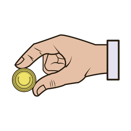 hand business put coin banking conept vector illustration Illustration