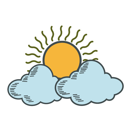 weather icon, sun with cloud design vector illustration Illustration