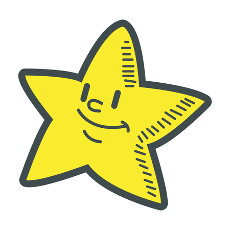 smiling little star cartoon character image vector illustration