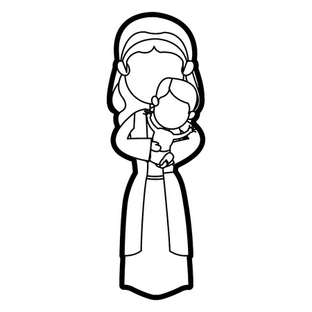 virgin mary and her holy baby religious catholicism vector illustration Illustration