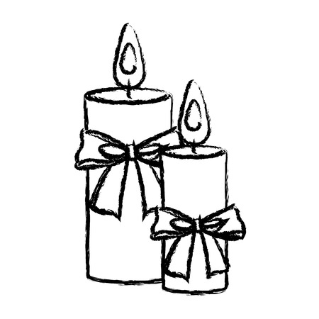 merry christmas candles bow decoration elegance icon vector illustration