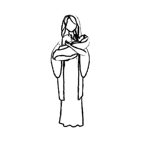 처녀 메리와 그녀의 거룩한 아기 종교 가톨릭 벡터 일러스트 레이 션 일러스트