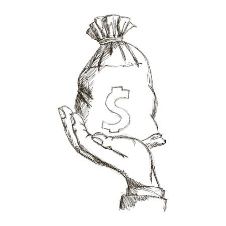 hand holding sack money dollar engraving design vector illustration Illustration