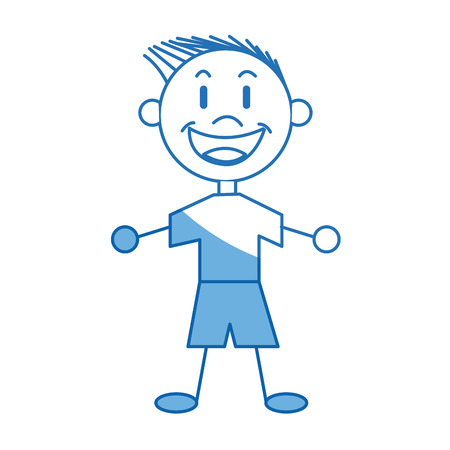 cartoon boy child young happiness image vector illustration Illustration
