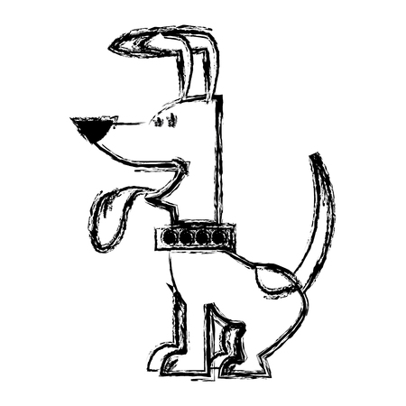 cartoon of funny sitting dog with collar, out tongue vector illustration