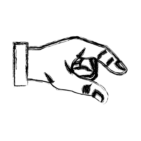 sketch hand man business gesture icon vector illustration Illustration
