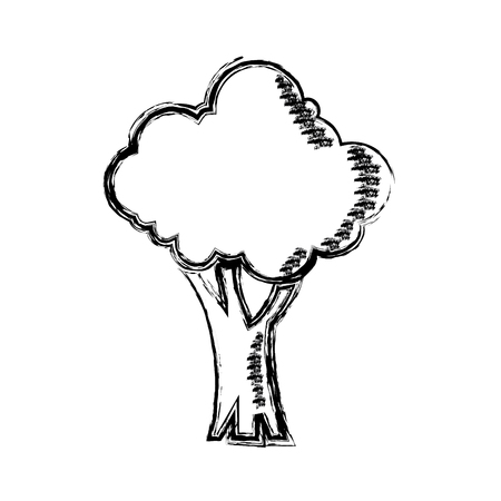 cartoon tree natural forest foliage ecology icon vector illustration