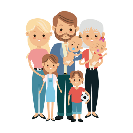 cute people family members together happiness vector illustration