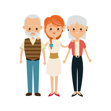 baby grand: family people mother with grandpa and grand mom vector illustration