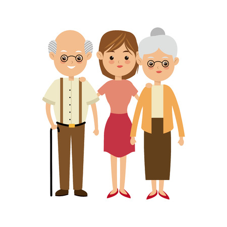 the grand daughter: family people mother with grandpa and grand mom vector illustration