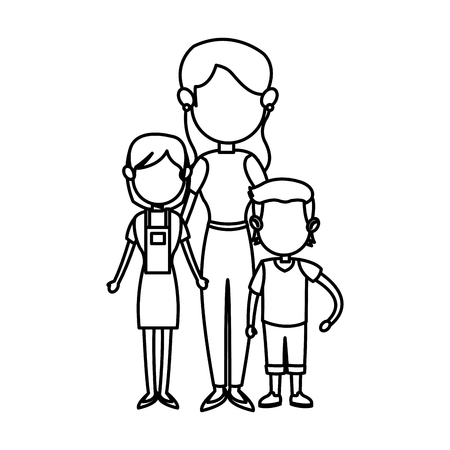 family parent with childrens image vector illustration