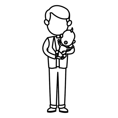 cute father holding baby son image vector illustration